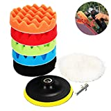 Leegoal(TM) 8pcs 7'' Sponge Polishing Waxing Buffing Pads Kit for Car Sanding, Polishing, Waxing, Sealing Glaze (5Polishing Pads+1 Woolen Buffer+1 Thread Drill Adapter with Shank)