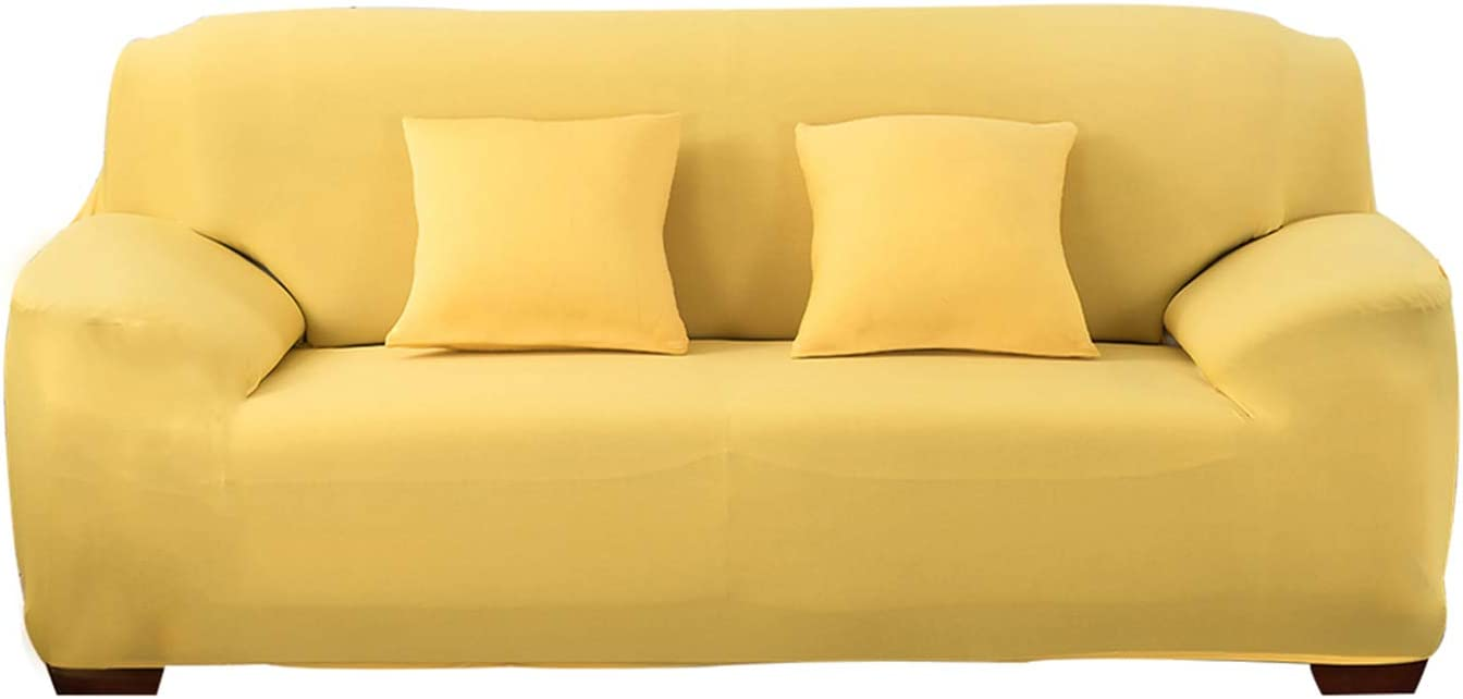 HOTNIU 1-Piece Fit Stretch Sofa Slipcovers - Easy-Going Super Fit with Elastic Bottom Couch Cover - Polyester Spandex Jacquard Stylish Furniture Protector with Anti-Slip Foam (Yellow, Sofa)
