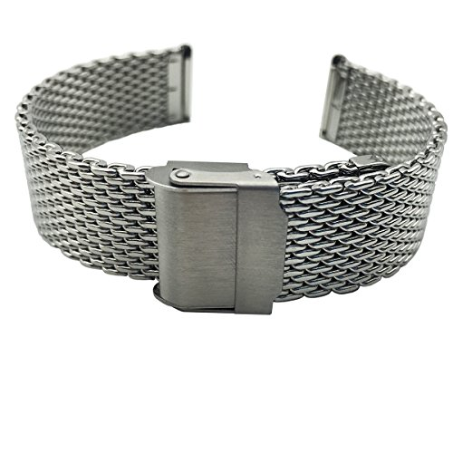 Polished Mesh - LEESTING Quick Release Adjustable Milanese Mesh Watch Band with Polished Stainless Steel Silver Deployment Clasp Lug Width 18mm 20mm 22mm Mens Women(22mm)