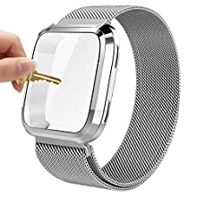 Maxjoy Versa Bands, Stainless Steel Metal Band Large Small Mesh Loop Replacement Bracelet Strap Wristbands with Magnet Lock & Protective Case Versa Smart Watch, Silver