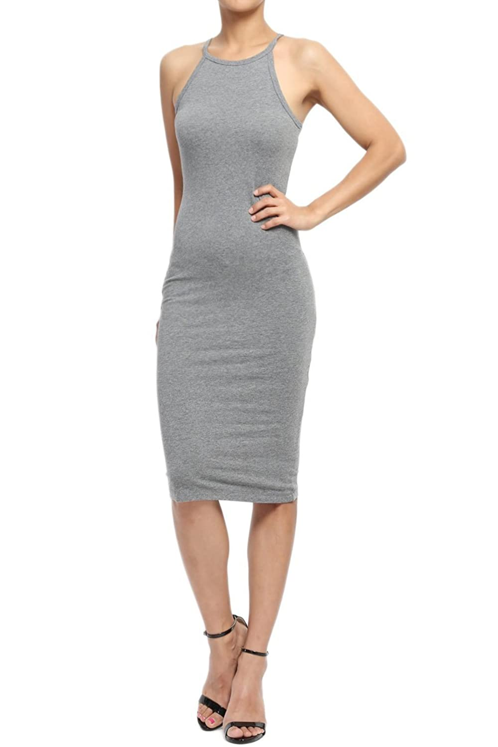 TheMogan Women's Sleeveless Scoop Neck Racerback Tank Bodycon Pencil Midi Dress