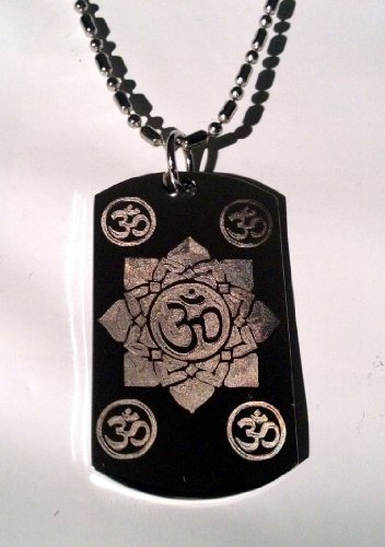 Flowers Clasp Metal Necklace (Hindu Om Aum Lotus Flower Meditation Religion Religious Logo Symbols - Military Dog Tag Luggage Tag Key Chain Metal Chain Necklace)