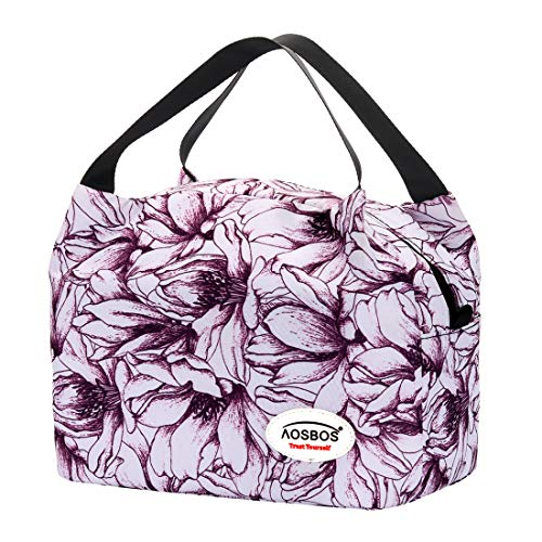 Purple Flowers Gift Bag - Aosbos Insulated Lunch Bag for Women Lunchbox Tote Food Cooler Box Gift Men (Purple Flower)