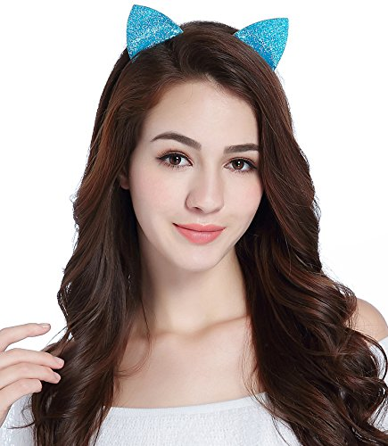 CAKYE Glitter Cat Ear Headband Party Hair Band Gift (One Size, Blue (Cat Ears)) - Blue Cat Ears