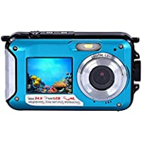 Camera, Emubody Waterproof Double Screen Camera 24MP 16x Digital Zoom Dive Camera