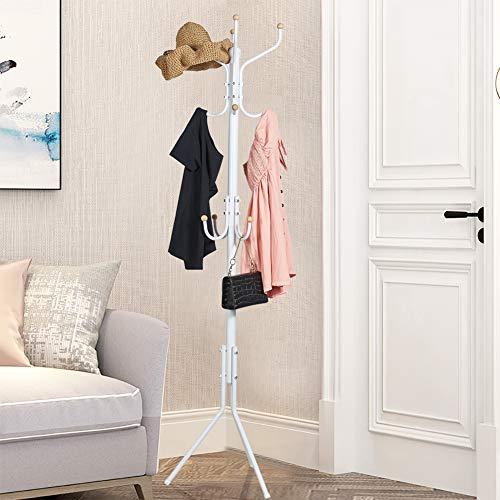 (Salafey Free Standing Coat Racks,12 Hooks Metal Coat Tree,Coat Hanger Entryway Hall Tree for Hanging Hat,Jacket,Scarves,Handbags,Umbrella,White)