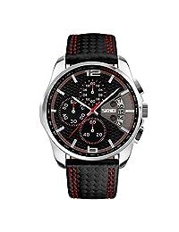 SKMEI Men's Watches Chronograph Black Leather Quartz Sports Casual Wrist watch 9106