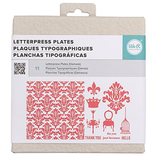QUICKUTZ We R Memory Keepers Letterpress Printing Plate Set, Damask
