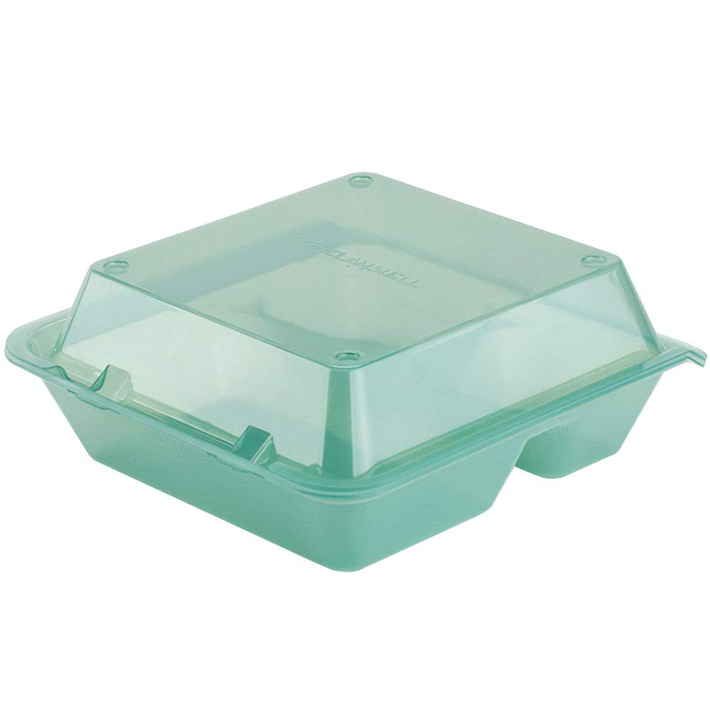 Break Resistant 3-Compartment Eco-Takeouts BPA Free Dishwasher /& Microwave Safe Green Reusable Plastic to-Go Boxes Pack of 4 9x9 by GET EC-01-1-JA-EC