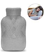 Wärmflasche, phixilin Wärmeflaschen mit Strickbezug Rollkragen Wärmekissen Geprüft und Frei Von Schadstoffen Hot Water Bottle für lindert Schmerz, Bauchschmerzen, Krämpfe - Grau