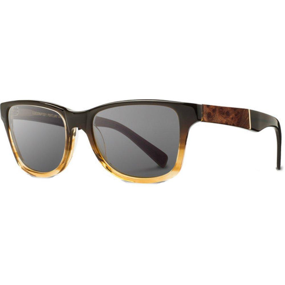 Shwood - Canby Acetate, Sustainability Meets Style, Sweet Tea/Elm Burl, Grey Polarized Lenses