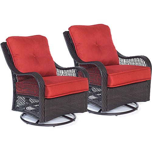 (Hanover ORLEANS2PCSW-B-BRY Orleans Swivel Rocking Chairs in Autumn Berry-Set of Two Outdoor Furniture, Red)