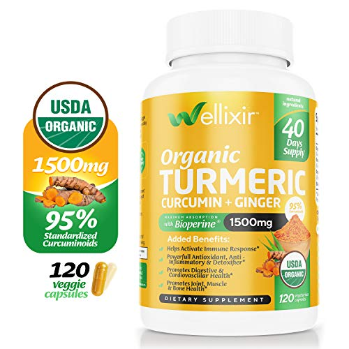 Wellixir Organic Turmeric Supplement - Vegan Curcumin with Bioperine Capsules - 120 Veggie Caps with Ginger Root Extract, Curcumin and Turmeric for Joint Health - 95% Curcuminoids Formula