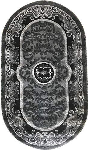 - Americana Traditional Persian Oriental Oval Area Rug Grey Black Silver Gray Design 101 (32 Inch X 56 Inch)