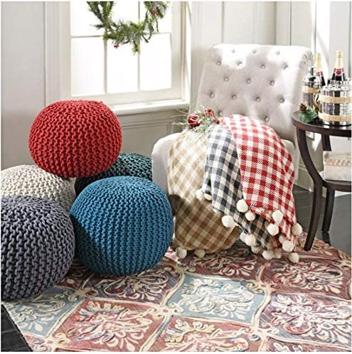 Spura Home Pouf Hand Knitted Ottoman Foot Rest Handmade Soft Seating Cushion Charcoal