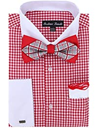 Gingham Shirt with Bowtie and Hanky and Cufflinks, White Cuffs