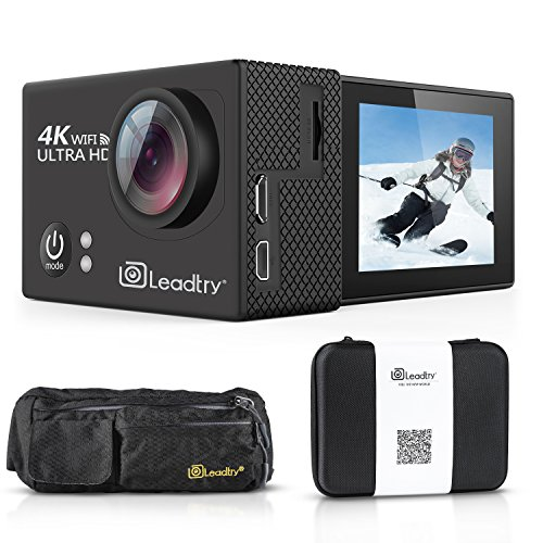 Action Pocket - LeadTry TP2 HD Action Camera Full 4K Wi-Fi Sports Camera, Ultra-thin 30M Waterproof Cam with Waist Bag Pocket,Remote Sports Camcorder with 2 Batteries [50% off, Enter code 3FPVZ5TI at checkout]