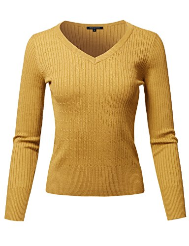 Made by Emma Basic Long Sleeve V-Neck Cable Knit Classic Sweater Dusty Mustard S -