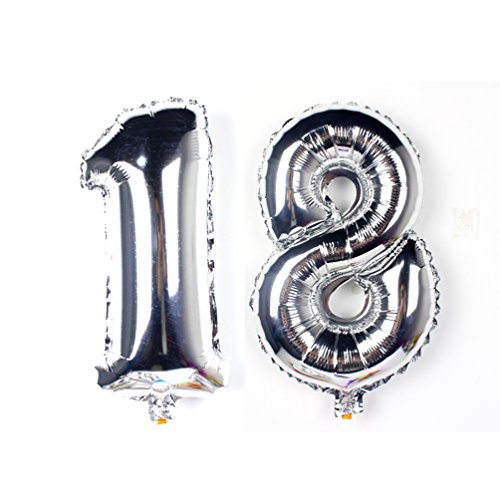 KIYOOMY 40 inch Number 18 Balloon Silver Gaint Jumbo Foil Mylar Number Balloons for Sweet 18 Birthday Party Adult Ceremony Celebrate Parties Decorations