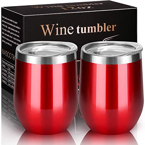 MASCOTKING Wine Glasses Tumbler - 12 oz 2 Pack - Double Wall Vacuum Insulated Cup with Lids for Keeping Wine, Coffee, Drinks - Beverage Warm in Winter -Perfect Father's Day Gifts