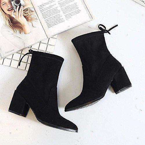 Peluche Tacón Mujer Alto de BLACK Grueso 40 Tobillo BROWN Botas wdjjjnnnv 35 Piel Cálido para Zapatos Cortas Yqp8xAH