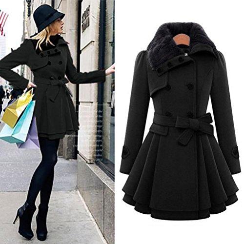 Culater® Mujer Invierno Grueso Abrigada Negro Abrigo Chaqueta Parka 4xBRXOw