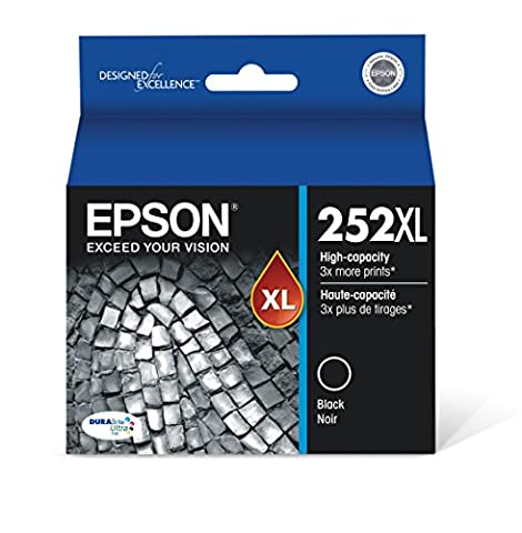 Epson T252XL120 DURABrite Ultra Black High Capacity Cartridge Ink (Epson Ink For Wf3620)