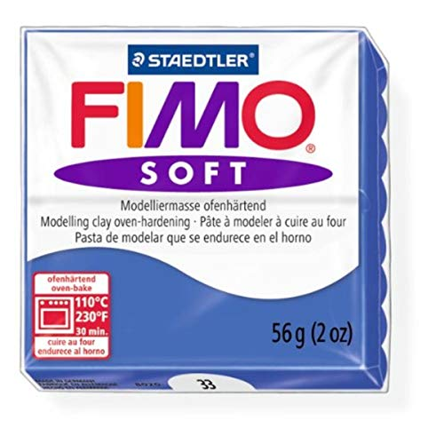 Staedtler Fimo Soft Brilliant Blue (33) Oven Bake Modelling Clay Moulding Polymer Block Colour 56g (1 Pack)