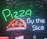 Prang-US Pizza by The Slice Neon Signs 17×14 inch, Real Neon Signs Made with Glass Tubes, Brilliant Neon Open Sign. Eye-catching Neon Beer Sign.