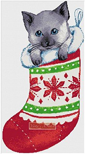 Navidad gato calcetín de punto de Kit de punto de cruz (tela ...