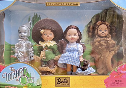 Barbie COLLECTOR Edition KELLY & TOMMY WIZARD of OZ DOLLS GIFT SET w Dorothy & TOTO, Tin Man, Scare Crow & Lion - 2003 Collectors Tin
