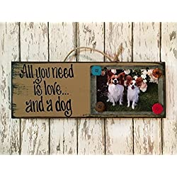 DOG Photo Holder Chalkboard Sign - ALL YOU NEED IS LOVE AND A DOG - Picture Frame Wall Home Decor - Red Aqua Turquoise Blue Tan