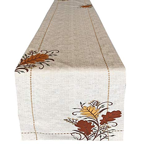 Lintex Autumn Leaves Embroidered Thanksgiving and Fall Harvest Fabric Table Runner – Fall Copper Leaves Embroidered Kitchen and Dining Room Table Runner, 72″ Long Table Runner