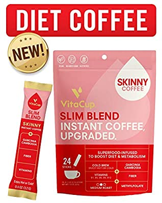 VitaCup Slim Instant Coffee Sticks | Diet & Metabolism | Garcinia & Fiber | Vitamins B1, B5, B6, B9, & B12 | Vegan | Superfood Infused Instant Skinny Coffee | Enjoy Hot or Cold by VitaCup