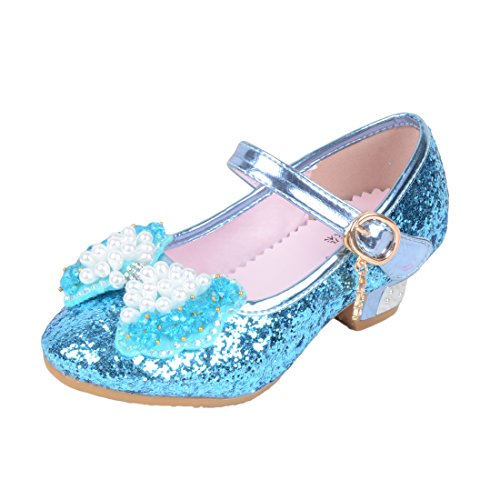 O&N Girls Kids Childrens Bow Low Heel Party Wedding Mary Jane Glitter School Dress (Glass Slippers For Girls)