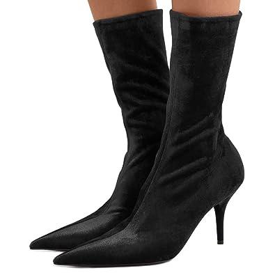 350ebafe36 FSJ Women Pointed Toe Thin High Heels Sock Boots Mid Calf Party Prom Velvet  Dress Booties