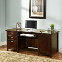 kathy ireland Home by Martin Tribeca Loft Cherry Double Pedestal Computer Desk - Fully Assembled