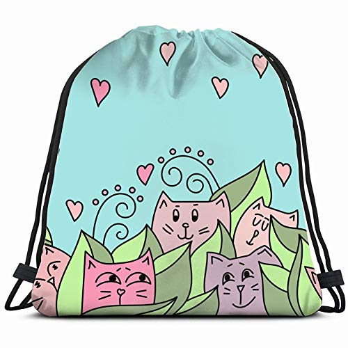 (cute cats peeking out leaves animals wildlife Gym Sack Bag Drawstring Sport Beach Travel Outdoor Backpack for Women 17X14 Inch)