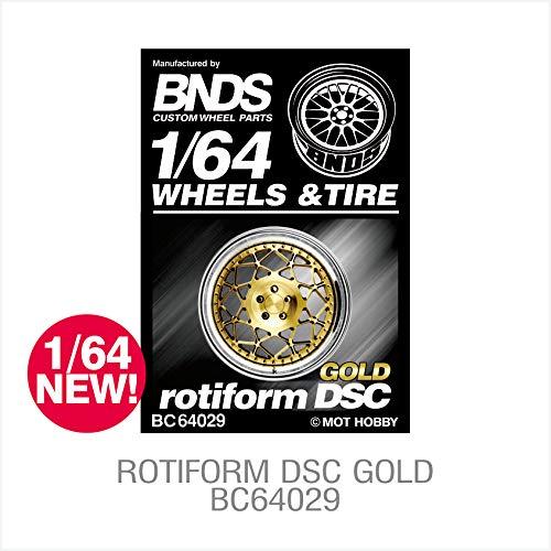 BNDS ホイールタイヤ カスタムパーツ トレッドラバー ゴールド シルバー 合金リム 4ピースキットセット 1/64スケール ダイカスト ホットモデル 車両用 ゴールド BC64001-10 B07Q3X3CVX  64029