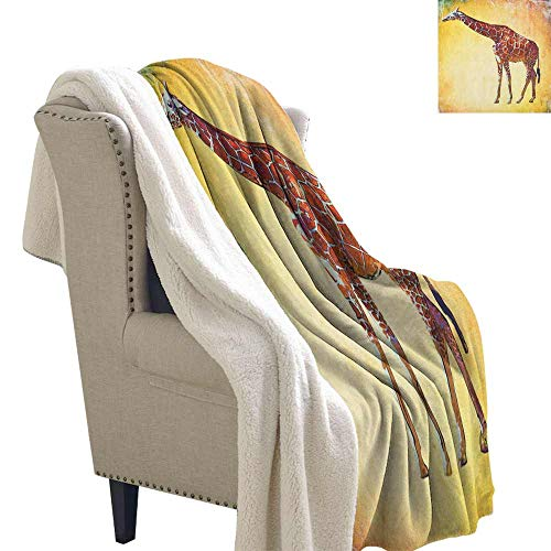 Giraffe Winter Quilt Vintage Style Illustration Watercolor African Animal Wildlife Safari Zoo Retro Art Blanket for Family and Friends Multicolor W59 x L78