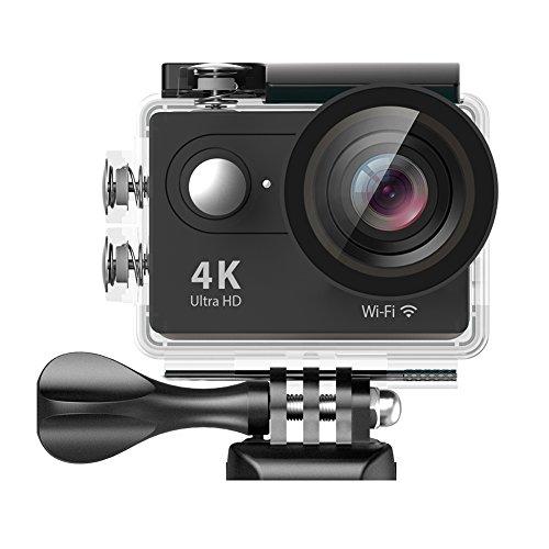 EKEN H9 Actioncam 4k Unterwassergehäuse für bis zu 30m Wassertiefe 2 Batterien + Selfie-Stick + Charging Dock (Schwarz)