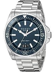 Gucci Dive Analog Display Swiss Quartz Silver-Tone Mens Watch(Model:YA136203)