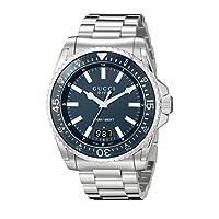 Gucci Dive Analog Display Swiss Quartz Silver-Tone Men's Watch(Model:YA136203)