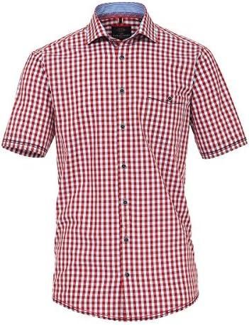 Casamoda Camisa de Manga Corta Clara de Cuadros Rojos Oversize, 2xl-8xl:3XL: Amazon.es: Ropa y accesorios