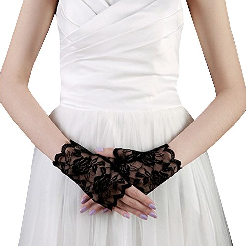 JISEN Sexy Lace Fingerless Rose Gothic Wrist wedding Party Gloves Black (Lace Fingerless Gloves)