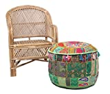 NANDNANDINI -Beautiful Christmas Decorative Vintage Patchwork Green Bohemian Indian Pouf Large Round Ottoman Seat Pouffe