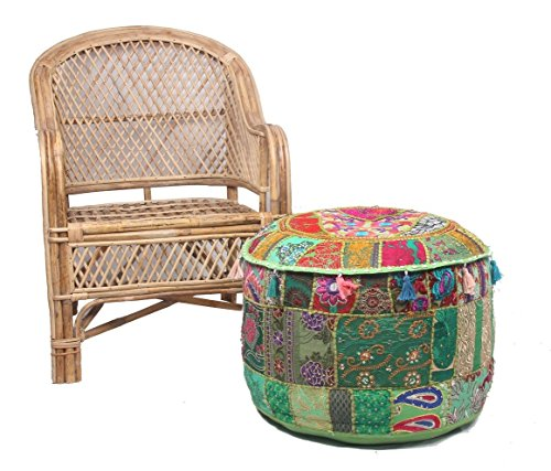 NANDNANDINI -Beautiful Christmas Decorative Vintage Patchwork Green Bohemian Indian Pouf Large Round Ottoman Seat Pouffe by NANDNANDINI