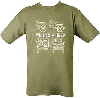 Kombat Militar Hombre Impresa Ejército Combate Gm2 Willys Willys D-Day Jeep US Camiseta Verde Camiseta: Amazon.es: Ropa y accesorios
