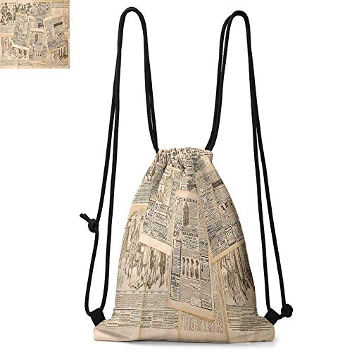 Antique Portable drawstring backpack Newspaper Pages with Advertising and Fashion Magazine Woman Edwardian Publicity Image For the gym W13.4 x L8.3 Inch Cream