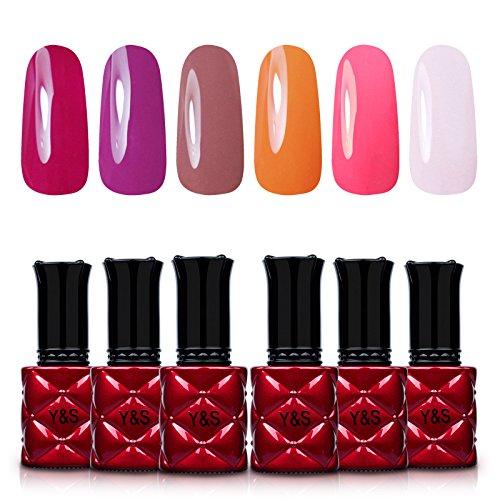 Yaoshun Gel Nail PolishNail Design Nail Orange Fuscia Brown Color Coat 6Pcs/Lot 8ml -kit#005 -
